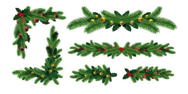Bordi realistici delle ghirlande dell'albero di natale e angoli del telaio. decorazione per le vacanze invernali con ramo di abete, foglie di agrifoglio e set di vettori di pigne. illustrazione della cornice di abete di natale della decorazione realistica