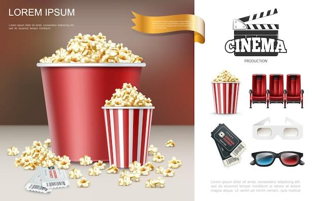 Composizione realistica di cinema e film con popcorn in secchi rossi battaglio biglietti comodi posti a sedere