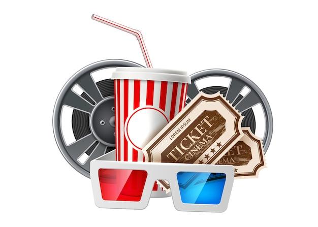 Modello di cinema realistico secchio di popcorn film bobina di nastro cinema occhiali 3d e biglietti