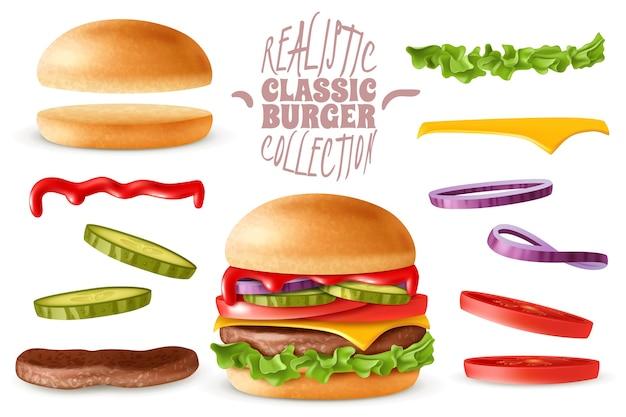 Insieme di elementi di hamburger classico realistico