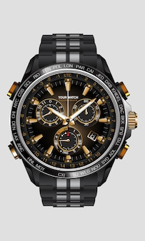 Orologio realistico orologio cronografo in acciaio nero numero oro lusso su sfondo bianco design per uomini su bianco illustrazione.