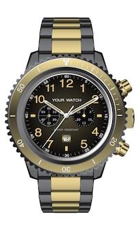 Realistico orologio orologio cronografo oro nero design per uomini di lusso su sfondo bianco illustrazione.