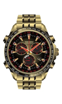 Realistico orologio orologio cronografo oro nero rosso design per uomini su sfondo bianco illustrazione.