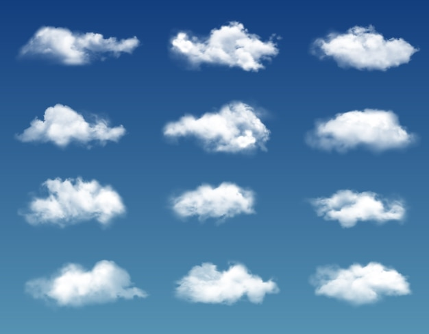 Nuvole realistiche nel cielo blu.