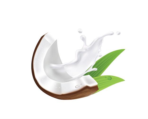 Illustrazione organica del latte di cocco realistico, dell'olio e delle foglie di palma verdi