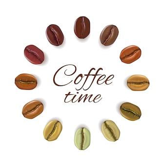 Chicchi di caffè realistici disposti in cerchio con il posto per il testo
