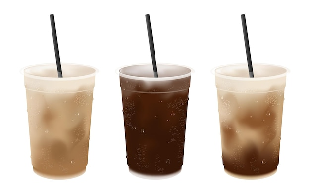 Latte di caffè ghiacciato freddo realistico e americano in bicchiere di plastica