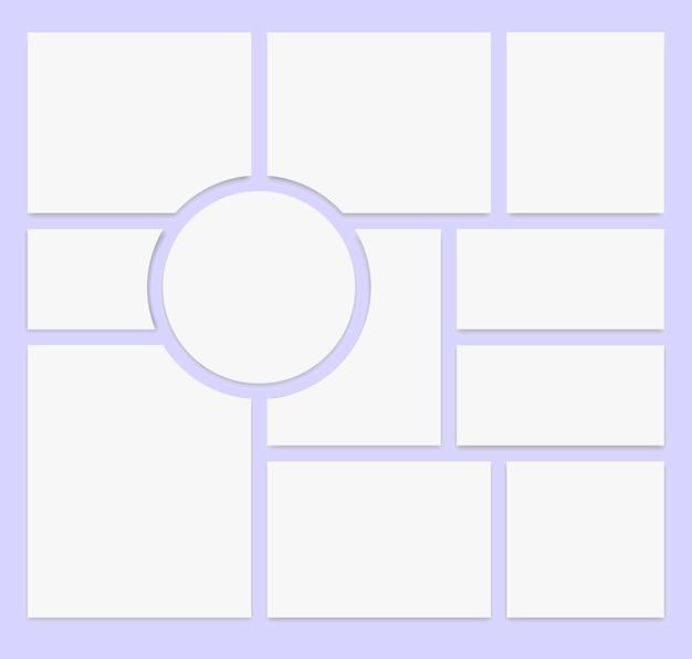 Collage realistico. modello di cornice per foto di 11 parti. impaginazione galleria fotografica. illustrazione vettoriale.
