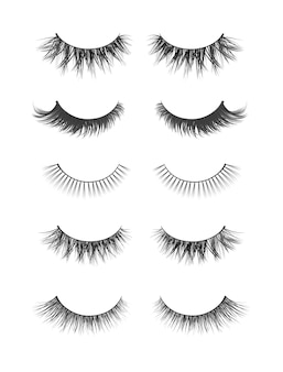 Raccolta realistica di ciglia finte. illustrazione di moda alla moda per mascara pack o prodotti di bellezza. ciglia femminili impostate su sfondo bianco