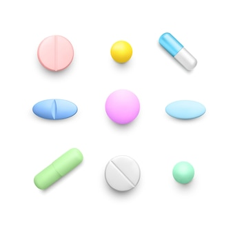 Pillole di colore realistiche. set di capsule di droga di colore. medicina e sanità della farmacia