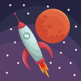 Universo realistico di poster a colori con razzi e pianeta