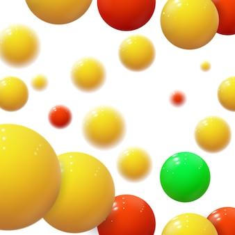 Sfere colorate realistiche. bolle di plastica. sfere lucide. forme geometriche 3d, sfondo astratto