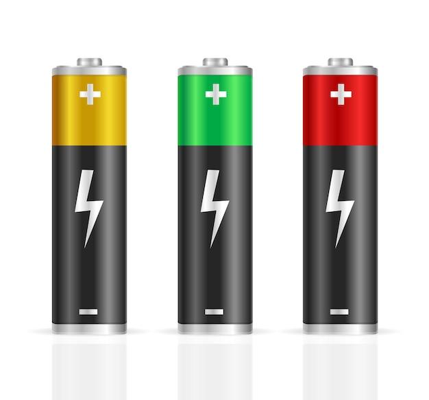 Set di batterie colorate realistiche.