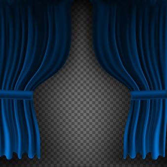 Tenda di velluto blu colorato realistico piegato su uno sfondo trasparente. opzione tenda a casa al cinema