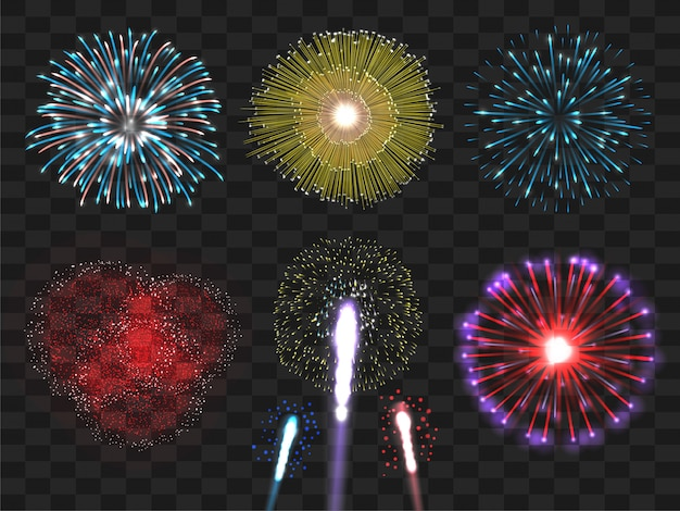 Set di fuochi d'artificio colorati realistici