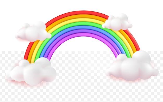 Cartone animato realistico colorato arcobaleno 3d su sfondo bianco trasparente