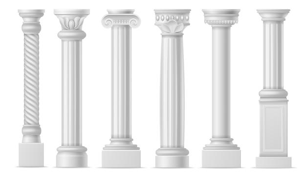 Colonna realistica. colonne bianche antiche classiche, colonne di pietra storiche romane, colonne di marmo dell'antica grecia architettura colonnade vettore isolato set di elementi