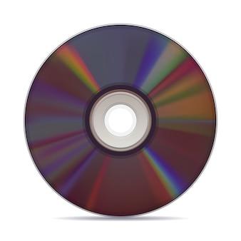 Compact disc realistico su sfondo bianco.