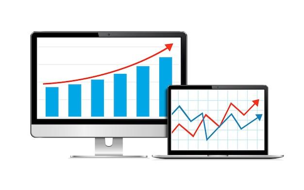 Monitor di computer e laptop realistici simulano con dashboard di analisi