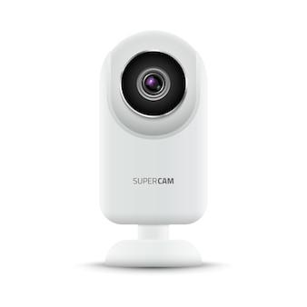 Videocamera web per computer realistica. illustrazione digitale di tecnologia della videocamera. dispositivo webcam.