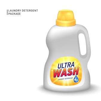 Contenitore realistico per detersivo liquido con etichetta progettata.