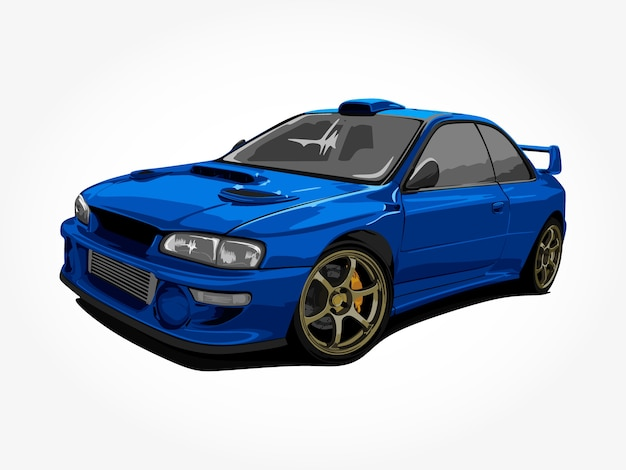Arte di dettaglio auto blu freddo realistico Vettore Premium