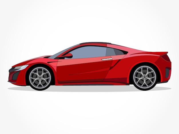 Auto rossa fresca realistica con dettagli