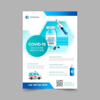 Modello di volantino realistico per prodotti medici coronavirus