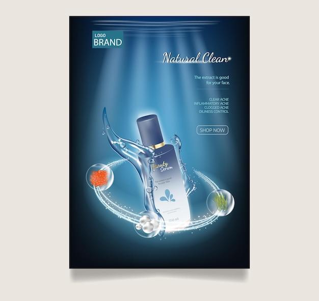 Manifesto pubblicitario cosmetico realistico flacone per la cura della pelle con lozione su sfondo blu subacqueo