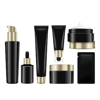 Realistiche bottiglie nere cosmetiche con tappi dorati. contenitori, provette, bustina per crema, balsamo, lozione, gel, crema per fondotinta. illustrazione