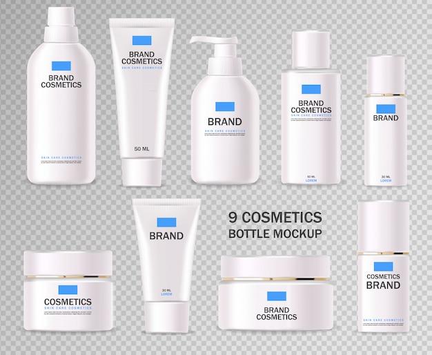 Cosmetici realistici, set di bottiglie blu e bianco, confezione, cura della pelle, crema idratante, toner, detergente, siero, carta di bellezza, trattamento viso, contenitore isolato sfondo bianco