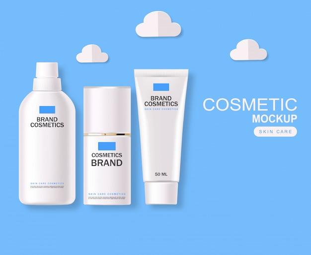 Cosmetici realistici, set di bottiglie blu e bianco, confezione, cura della pelle, crema idratante, toner, detergente, siero, beauty card, trattamento viso, contenitore isolato