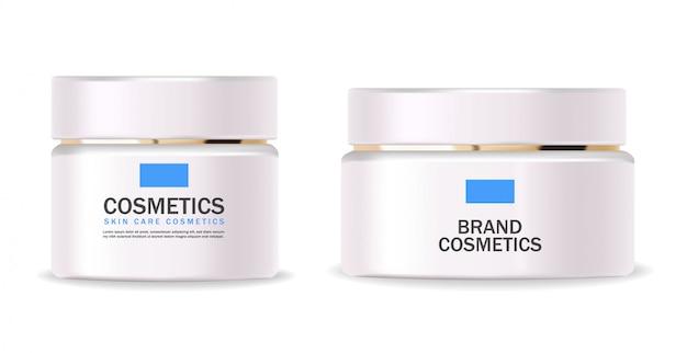 Cosmetici realistici, crema idratante, bottiglia bianca, confezione, prodotto per la cura della pelle, trattamento, contenitore isolato