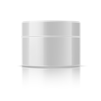 Mockup di barattoli cosmetici realistici. bottiglia rotonda pacchetto crema lucido. gel per la cura della pelle bianco vuoto, lozione. crema antietà con ingredienti naturali. crema lifting viso.