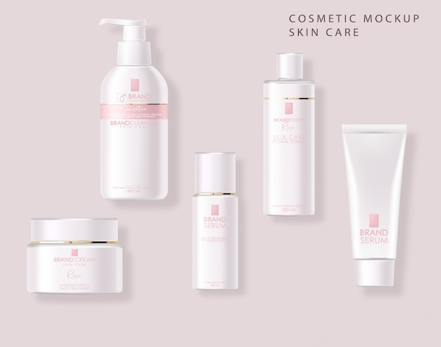 Cosmetici realistici, design rosa, set di bottiglie bianche, confezione mockup, cura della pelle, crema idratante, toner, detergente, siero, carta di bellezza, trattamento viso, contenitore isolato 3d sfondo rosa