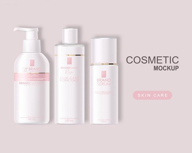 Cosmetici realistici, design rosa, set di bottiglie bianche, confezione mockup, cura della pelle, crema idratante, toner, detergente, siero, trattamento viso, contenitore isolato 3d sfondo rosa