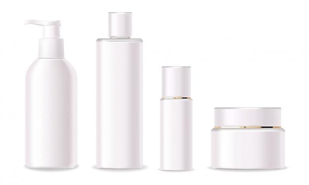 Cosmetici realistici, design rosa, set di bottiglie bianche, packaging, cosmetici per la cura della pelle, vettore di sfondo