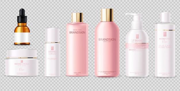 Cosmetici realistici, design rosa, set di bottiglie bianche, packaging, cura della pelle, crema idratante, toner, detergente, siero, beauty card, trattamento viso, contenitore isolato sfondo bianco