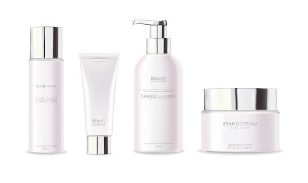 Cosmetici realistici, design argento, set di bottiglie bianche