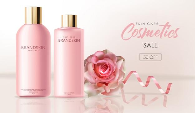 Cosmetici realistici per la cura della pelle, confezione detergente per bottiglie rosa