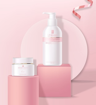 Cosmetici realistici cura della pelle, forme geometriche, detergente e crema idratante illustrazione