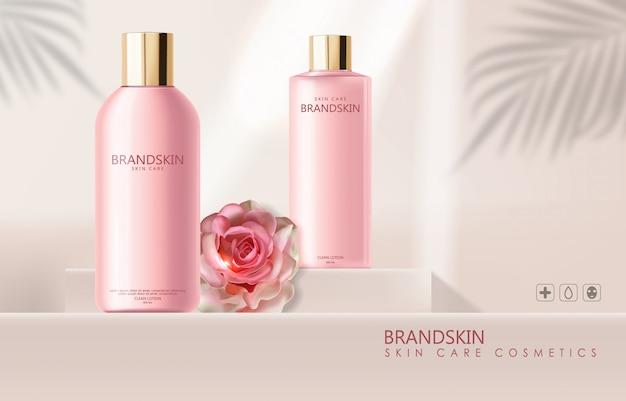 Cosmetici realistici per la cura della pelle e rose, lozione detergente, confezione di bottiglie rosa