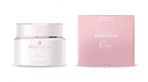 Cosmetici realistici, bottiglia bianca, confezione in scatola rosa, cosmetici per la cura della pelle