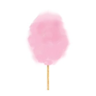 Zucchero filato realistico. illustrazione vettoriale isolato su bianco isolato