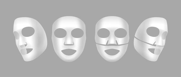 Maschere facciali realistiche in foglio di cotone o gel isolate