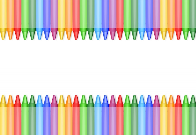 Pastelli realistici isolati, bei colori, pastelli messi, di nuovo a scuola, insegna di scuola, illustrazione