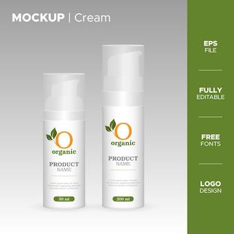 Realistico barattolo di crema e design del tubo con logo biologico