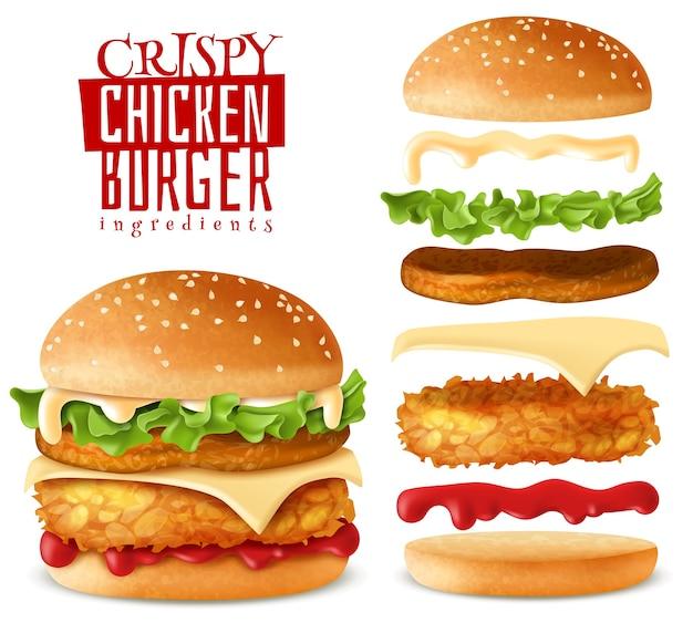 Insieme di elementi realistici hamburger di pollo croccante