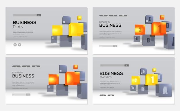 Modello di banner cubi realistici