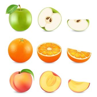Frutti realistici del taglio su fondo bianco. mela, arancia e pesca